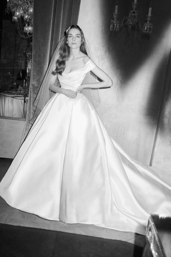 Ballgown dress with Batau off the shoulder neckline